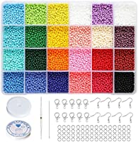 BALABEAD Size Almost Uniform Glass Seed Beads with Beading Kit, About 7800pcs in Box 24 Multicolor Assortment Size 2x3mm...