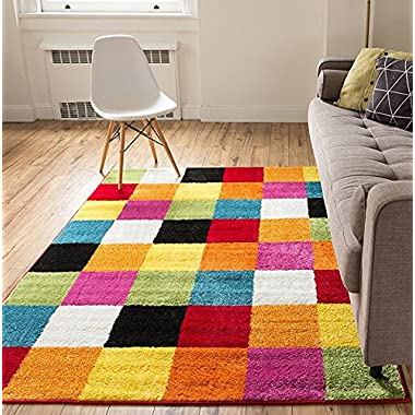 Modern Squares Multi Geometric Area Rug 8x10 ( 7'10  x 10'6  ) Abstract Checkerborad Boxes Bright Living Kid RoomPlayroom Nursery Bedroom Carpet Soft Durable Stain Fade Resistant Shed Free Easy Clean