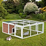 "PawHut 64"" Wooden Outdoor Rabbit Hutch Playpen with Run and Enclosed Cover"
