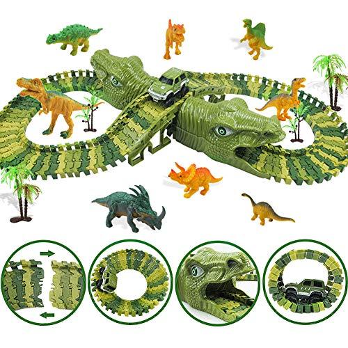 MOOKLIN ROAM 153 Stück Dinosaurier Rennbahnen - Dinosaurier Auto Spielzeug Cars Puzzles Rennstrecke Speedway Rennbahn, Twister Tracks, Geburtstag Geschenk für Kinder 3+ Jahre Jungen Mädchen