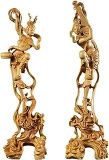 繁樓藝雕 天女 置物 木彫り 木製彫刻 美術品 TheChanger 飾り物 贈り物 柘植の木 (高さ24.5cm×巾7cm)