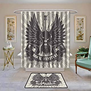 Kenneth Camilla01 Fabric Shower Curtain Waterproof Rock Music,Striped Background Instrument Wings Speakers Rock and Roll Design Hipster,Taupe Dust Cream,Custom Bathroom Curtain Sets 36