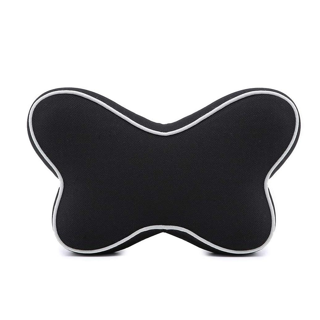 薄いレコーダーマエストロ記憶綿の電話ヘッドレスト車の記憶綿の首の枕、子供および大人のために適した快適な旅行ヘッドレストの首の睡眠の枕、,Black