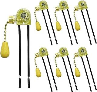 RUNCCI-YUN 6 piezas cadena interruptor retro interruptor del cable tirador ventilador sustitución interruptor para lámpara de pared lámparas de mesa eléctrica ventilador techo