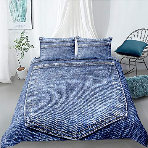 MOUPSDT Duvet Cover Set White blue creative denim King:86.7 inch x 95 inch 3 pcs Bedding Set with Zipper Closure with 2 Pillow covers 50x75cm Ultra Soft Hypoallergenic Microfiber