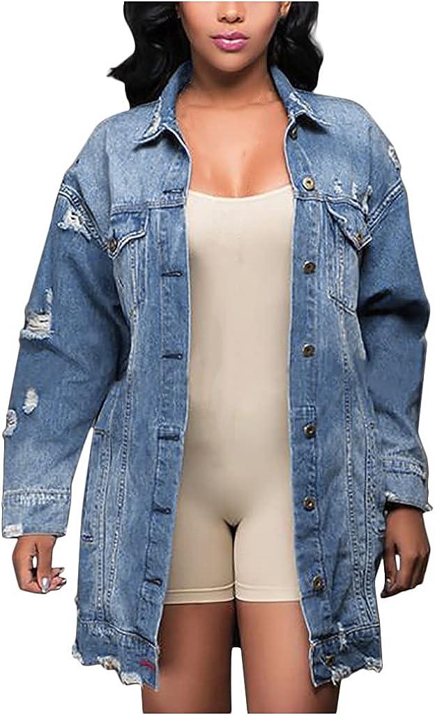 Hemlock Women Denim Jacket Plus Size Jean Coat Buttons Long Sleeve Denim Outwear Long Tops