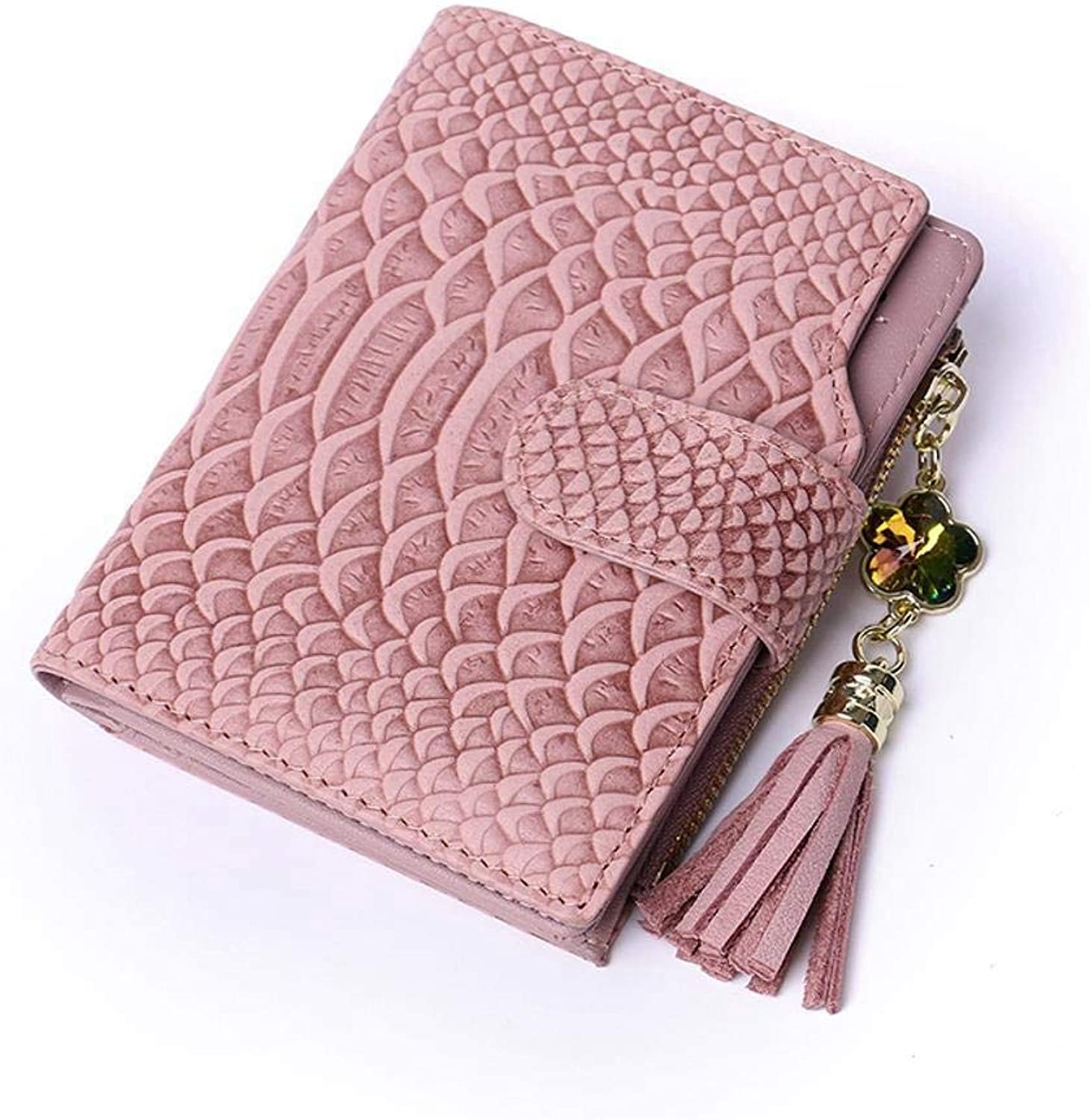 Girls Purse Lady Short Wallet Lady's Buckle Calf Leather Small Change Bag