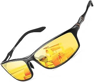 HD Night Vision Glasses Polarized Unisex Adjustable Al-Mg Metal Frame Rainy Safe Driving Glasses