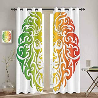 DONEECKL Rasta Queen Size Funny Curtain Lion Portrait in Vivid Colors Portrait Head King of Jungle Image Soundproof Shade W52 x L63 Inch Fern Green Yellow Orange White