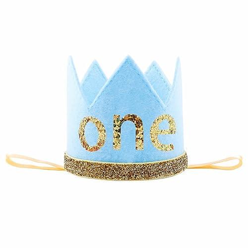 IMagitek Baby Prince Birthday Crown Tiara Headbands Boys First Party Hairband Hat