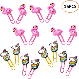 Cute Unicorns Flamingos Paper Clips - TANKE 16PCS Novelty Animals Bookmark Photos Clips Page Marker Big Paperclips for Office School Supplies