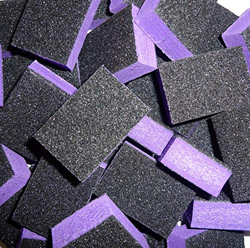 Pretty Claw | 40pc Mini Disposable Nail Buffer Blocks 80/80 Black Grit Purple Buffing Sanding Nail File 2 Sided