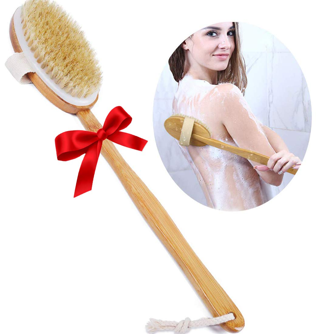 Ybj-ake Choice Nippon regular agency Shower Brush Bath Dry Skin Long with Bam Brushing Body