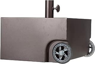 Abba Patio Umbrella Base Steel Patio Umbrella Stand with Two Wheels, Steel Planter, 17.7L x 17.7W x 10.2H inch