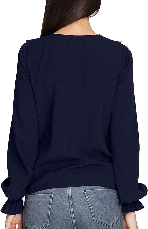 Camicetta Chiffon Maniche Lunghe Moda Blusa con Volant Pullover Donna Inverno Autunno Maglietta Fantasia Ragazza Felpa Primavera Estiva Tunica Taglie Forti Camicia Ufficio Maglia Top Tinta Unita