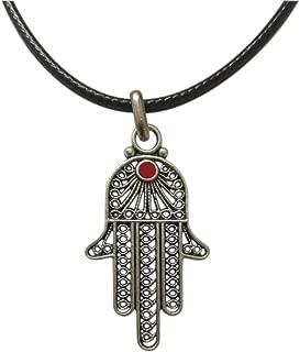 Collana in pelle Collana Mano di Fatima Khamsa Hamsa Collana Donna