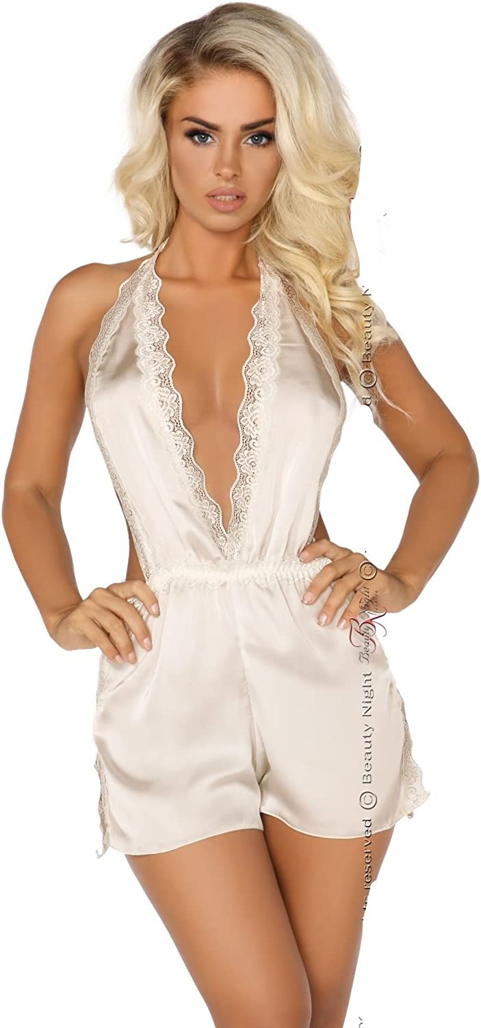 Sexy Classy Cream Ivory Satin Romper Playsuit All in One Body Delicate Lace Bridal Wedding Summer Beach Honeymoon 8 10 12 14
