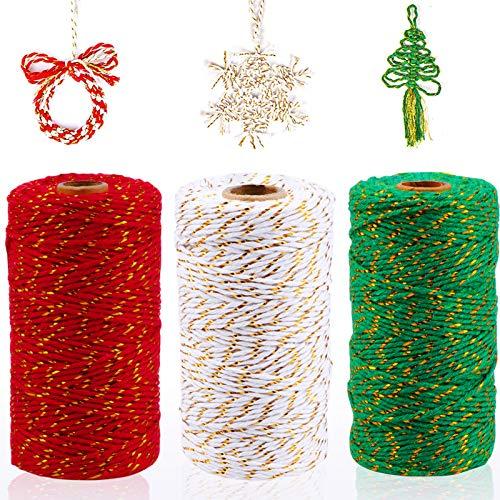 HOWAF - 3 Rollos de 984 pies, Totalmente navideños, de algodón, para Envolver Regalos, Cordones de Panadero para Envolver Regalos, Suministros de decoración navideña, 3 Colores