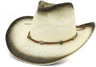Duyani Paja de Pintura Sombrero de Vaquero Occidental Mujeres Hombres Exterior Playa de Verano Sombrero Tejido Cuerda Visera Mujeres Gran Sombrero de Sol (Color : 1, Size : 56-58cm)