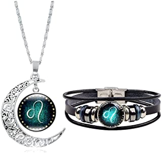 Dcfywl731 Fashion 12 Twelve Constellations Hand Woven Leather Bracelet and Moon Pendant Necklace Zodiac Sign Jewelry Set