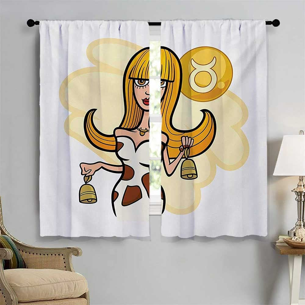 Zodiac Taurus Blackout Window Curtain Illustration Courier Max 76% OFF shipping free of Woman Cart