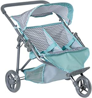 "Adora ""Zig Zag Twin Jogger Stroller"" Baby Doll Gender Neutral Toy Play Jogger Stroller for Kids, Toddler and Children 3+"
