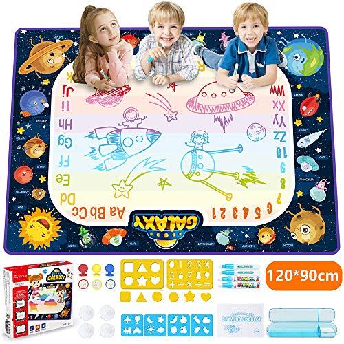 JOYSPACE Acqua Doodle Tappeto 120 *90cm Tappeto Magico per Bambini Acqua Doodle Tappetino da Disegno Coloro Regalo Magici e Giocattolo Giochi Educativo per Bambina Bambino 3 4 5 6 7 8 Anni