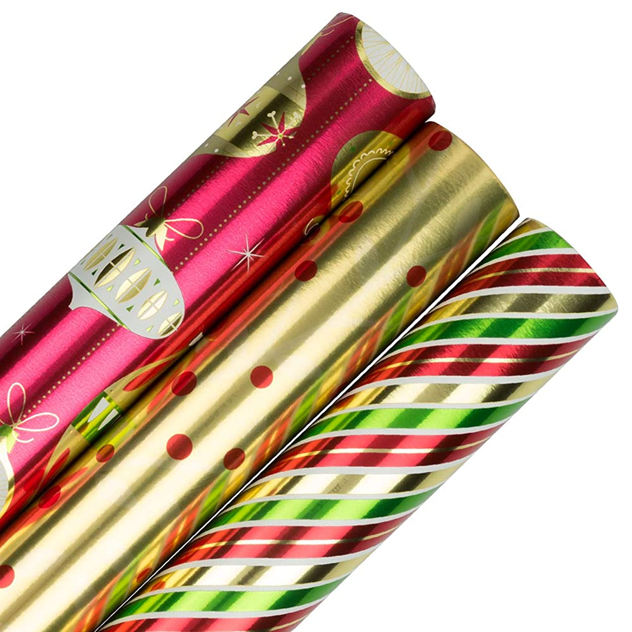 JAM PAPER Assorted Gift Wrap - Christmas Foil Wrapping Paper - 75 Sq Ft Total - Christmastime Set - 3 Rolls/Pack