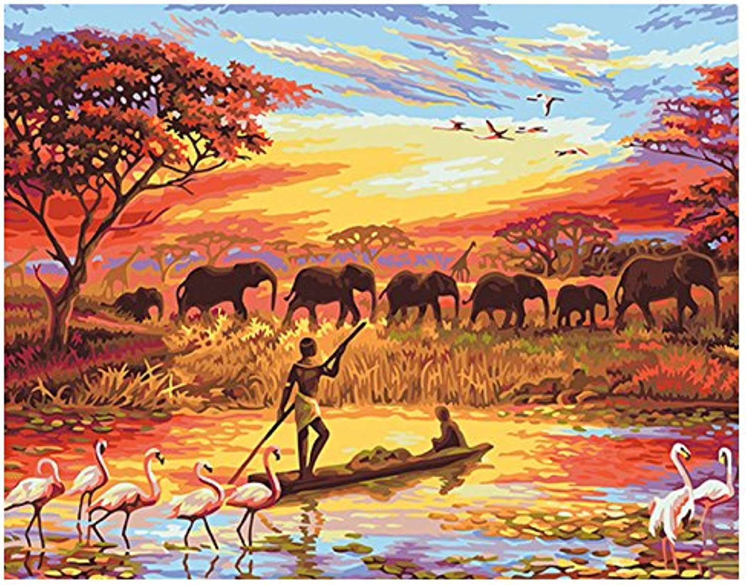 DIY Oil Paint by Number Kit for Adults Beginner 16x20 Inch - Sunset Elephant Flamingo,Drawing with Brushes Living Room Decor Decorations Gifts (Framed)