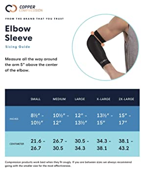 Copper Compression Recovery Elbow Sleeve - Guaranteed Highest Copper Content Elbow Brace for Tendonitis, Golfers or T...