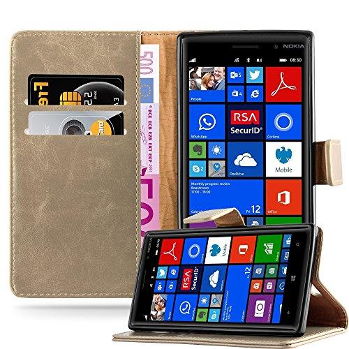 Cadorabo Hülle für Nokia Lumia 830 in Cappuccino BRAUN – Handyhülle mit Magnetverschluss, Standfunktion & Kartenfach – Hülle Cover Schutzhülle Etui Tasche Book Klapp Style
