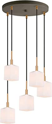 Woodbridge Lighting 18425CBZ-C80401 Pendant, 5-Light, Brass/Bronze