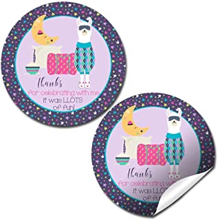 Llamas In Pajamas Slumber Party Sleepover Themed Thank You Sticker Labels for Kids, 40 2