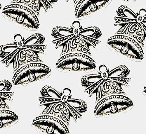10 Decoratieve Bell Kerstmis Bruiloft Bedels (Antiek Zilver Plated) - (Ref:3E8) + Gratis! Springen Ring ATTACHMENTS ~ Ideaal voor sieraden maken & kaart maken Versieringen
