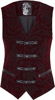 Punk Rave Mens Single Breasted Vest Gothic Steampunk Aristocrat Victorian Waistcoat
