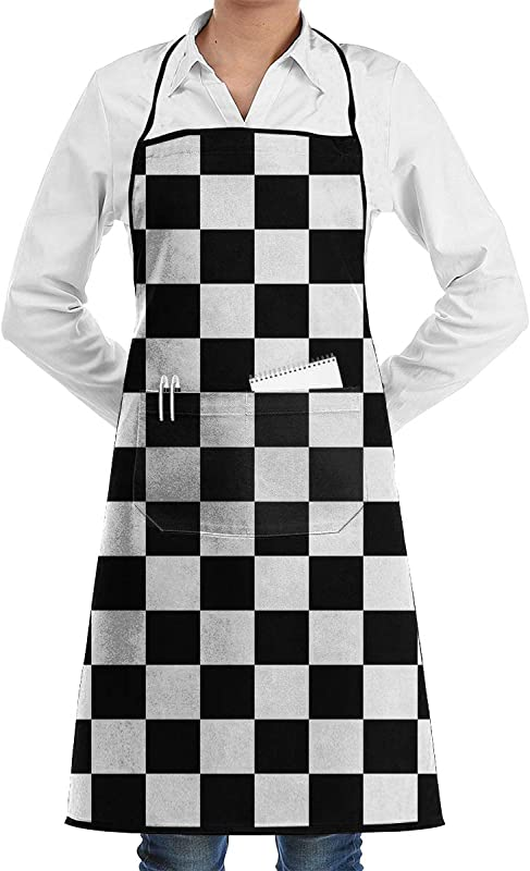White Black Checkered Bib Apron Cooking Chef Aprons With Pocket