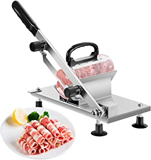 Manual Frozen Meat Slicer Stainless Steel Cutter Machine for Home Kitchen Use Commercial Beef Mutton Roll Cutting Slicers for Hot Pot Lover (Metal Silver)