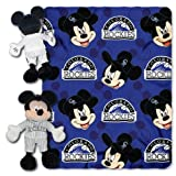 NORTHWEST MLB Colorado Rockies Character Hugger Pillow & Fleece Throw Blanket Set, 40' x 50', Mickey Mouse
