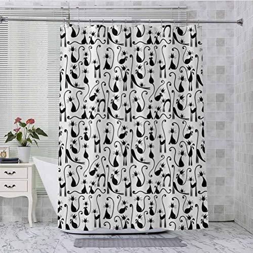 Aishare Store Cortina de ducha, gran número de gatos posando mujer elegante imagen de sombra de alta moda, tela de 84 pulgadas de largo para baño con 12 ganchos, negro y blanco