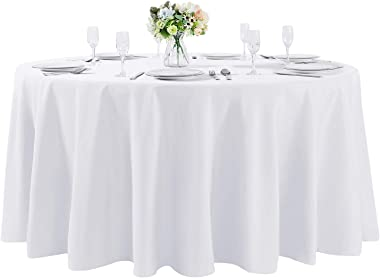 120 inch Round Tablecloth Washable Polyester Table Cloth Decorative Table Cover for Wedding Party Dining Banquet (120 inch,Wh