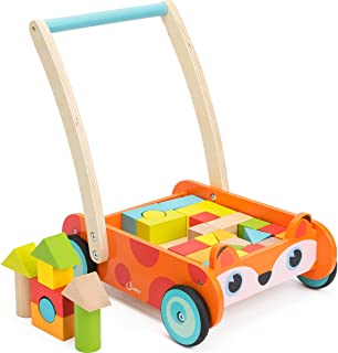 cossy Wooden Baby Learning Walker Toddler Toys for 1 Year Old and up, Fox Blocks and Roll Cart Push Toy (35 pcs) Updated V...