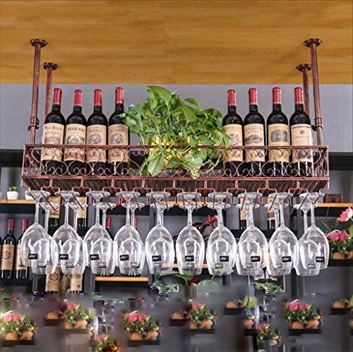 HaohaoCD Bar Sospensione Bancone da Bar Portabottiglie Ristorante Casalinghi Bicchieri rovesciati Scaffale rovesciato Retro Arte del Ferro Portabottig