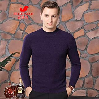 富贵鸟 纯羊毛衫男全羊毛冬季半高领针织毛衣中老年商务休闲爸爸装保暖打底衫
