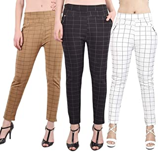 ST device with Star Delight Women's Black, White and Skin Check Pants (Jegging Style) Formals/Casual Stretchable - 26-32 I...