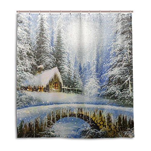 MyDaily Winterlandschaft Gemälde Weihnachts-Duschvorhang 182,9 x 182,9 cm, schimmelresistent & wasserdicht Polyester Dekoration Badezimmer Vorhang