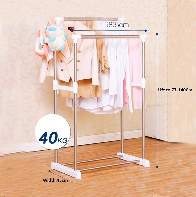 DYR Stainless Steel Clothesline, Bedroom Coat Hooks, Single Single bar Hanger, Modern Clothes Hanger for Indoor Clothesline