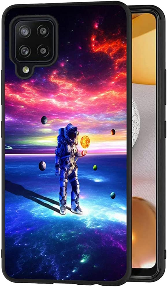 Esakycn for Galaxy A42 5G Case, Phone Case Silicone Black with Rose Pattern Design Ultra Slim Shockproof Soft TPU Girls Women Protective Cover Skin for Samsung Galaxy A42 5G 6.6 inch. Astronaut 1