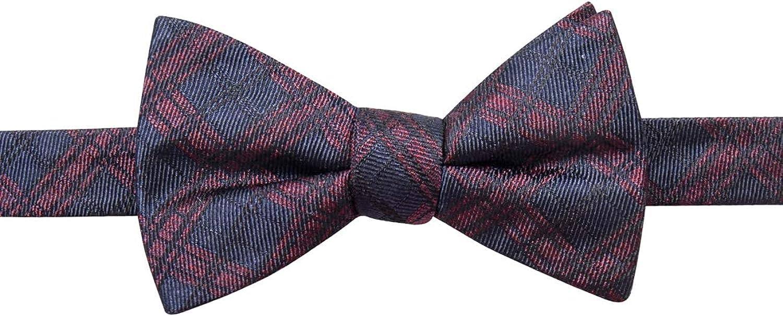 Ryan Seacrest Distinction Mens PT Pienza Silk Plaid Bow Tie Navy O/S