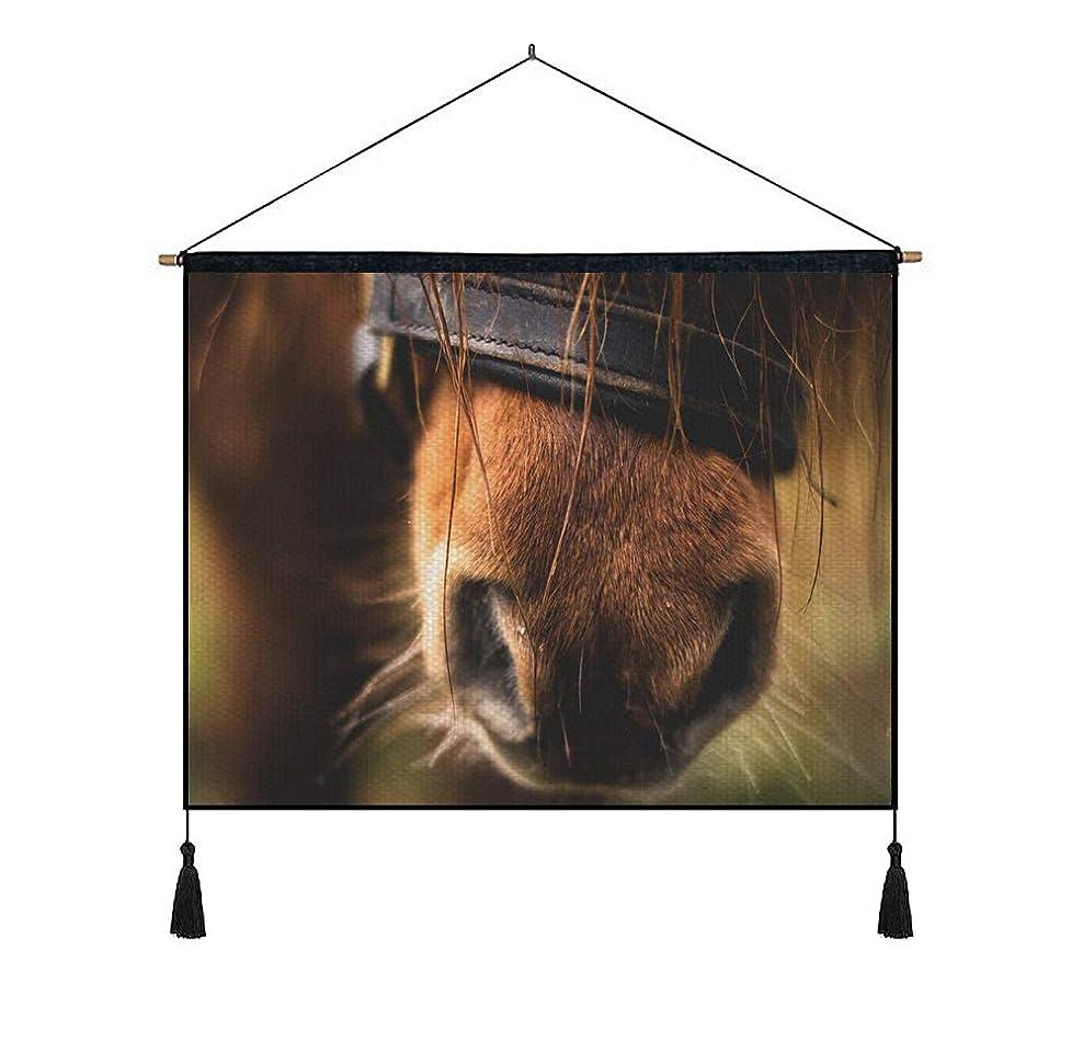 選ぶ非効率的な効率的に綿の麻 タペストリー 多機能 掛け軸 掛け物 横 70cmx50cm (馬の鼻のクローズアップ) 個性 掛け軸 掛け物 掛けじく ポスター インテリア 組立式 部屋飾り壁 壁飾り