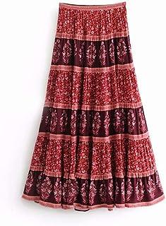 1cbbb4ffd HEHEAB Falda,La Moda De Verano Mujer Chic Vintage Estampados Florales Falda  Bohemia Playa Alta
